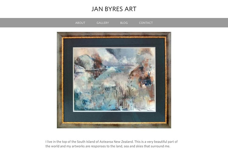 web design for an artist - home page