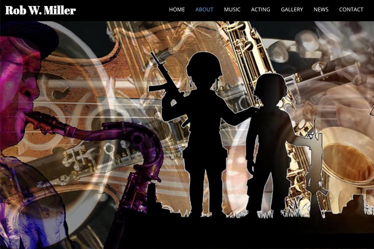 web design for a musician and actor - about page