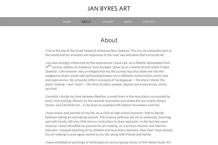 web design for an artist - about page