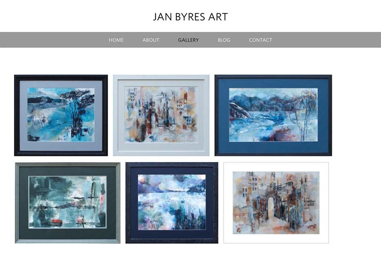 web design for an artist - gallery page