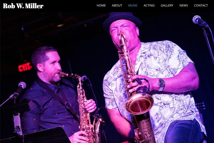 web design for a musician and actor - music page