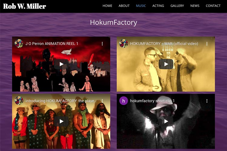 web design for a musician and actor - music videos