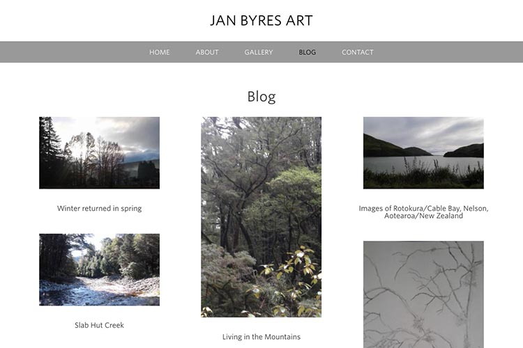web design for an artist - blog archive page