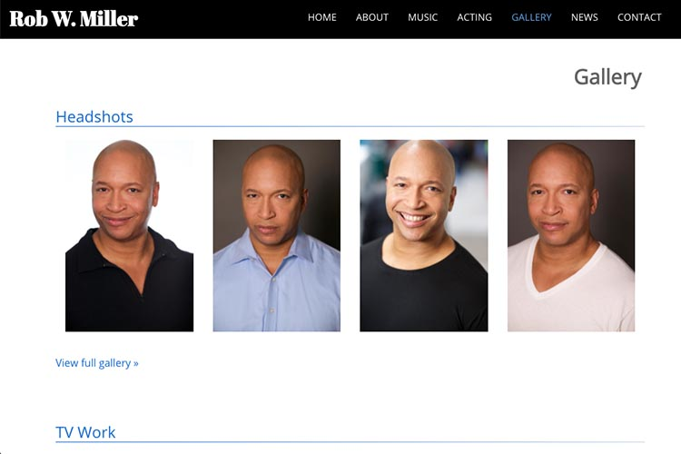 web design for a musician and actor - headshots gallery