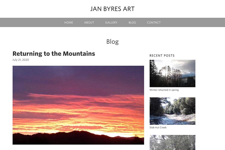 web design for an artist - blog post page