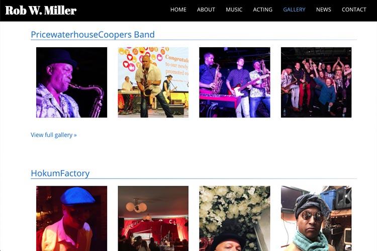 web design for a musician and actor - band photos