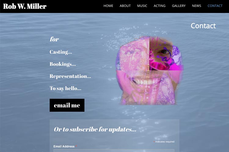 web design for a musician and actor - contact page 2