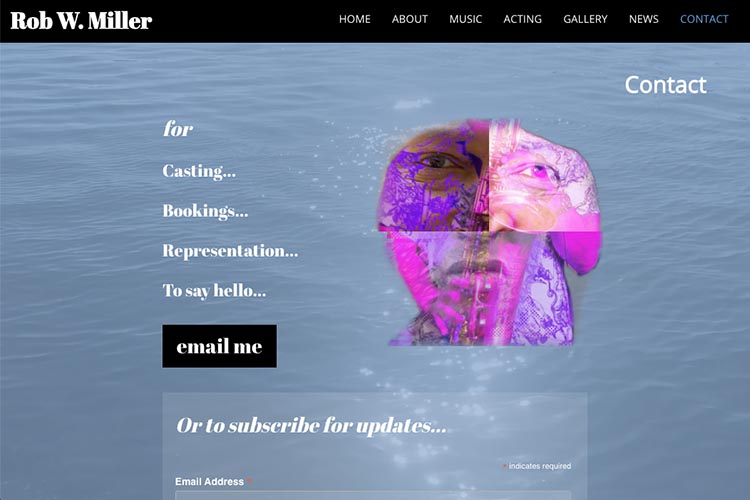 web design for a musician and actor - contact page 3