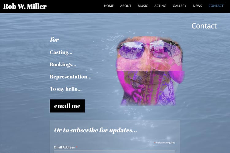 web design for a musician and actor - contact page 4