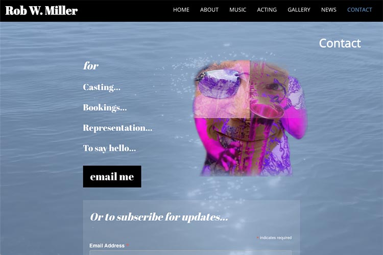 web design for a musician and actor - contact page 5