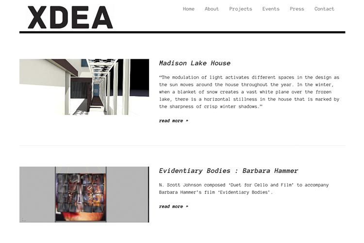 website design for an architect - projects page