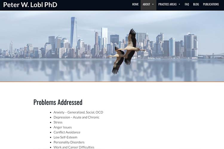 website design for a therapist - problems addressed page
