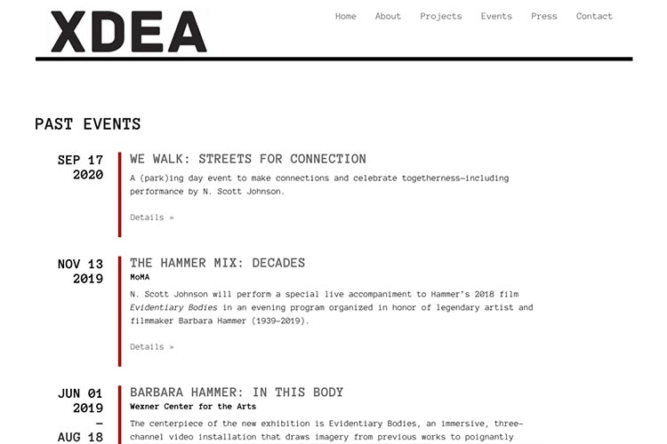 website design for an architect - events page