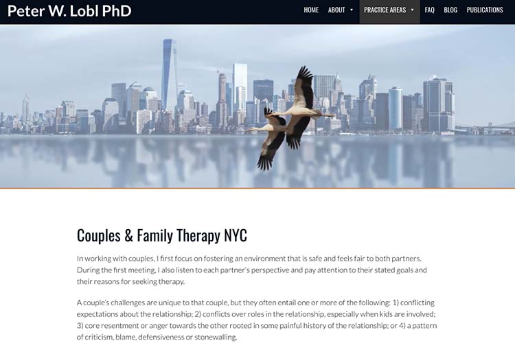 website design for a therapist - practice single page