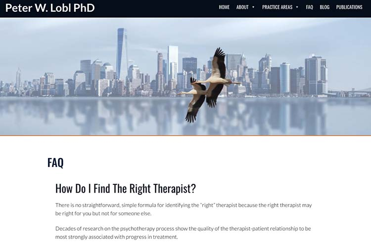 website design for a therapist - faq page