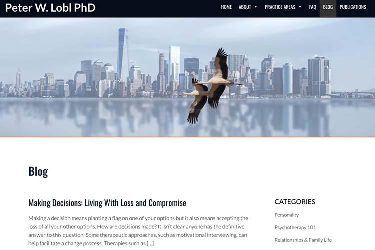 website design for a therapist - blog index