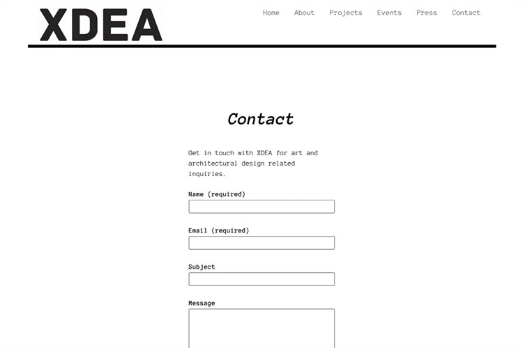website design for an architect - contact page