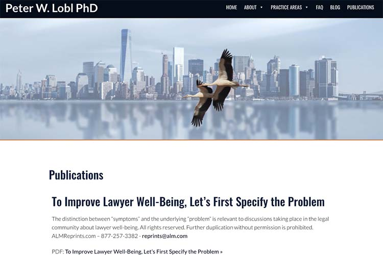 website design for a therapist - scholarly publications page
