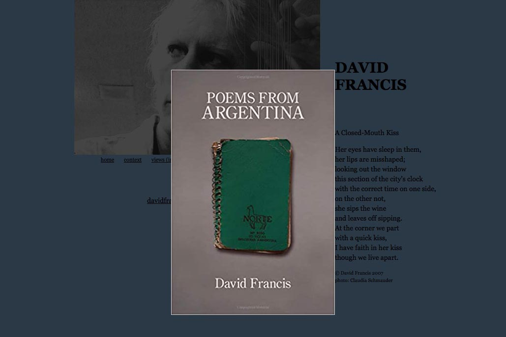 new book of poems for David Francis - poems from Argentina