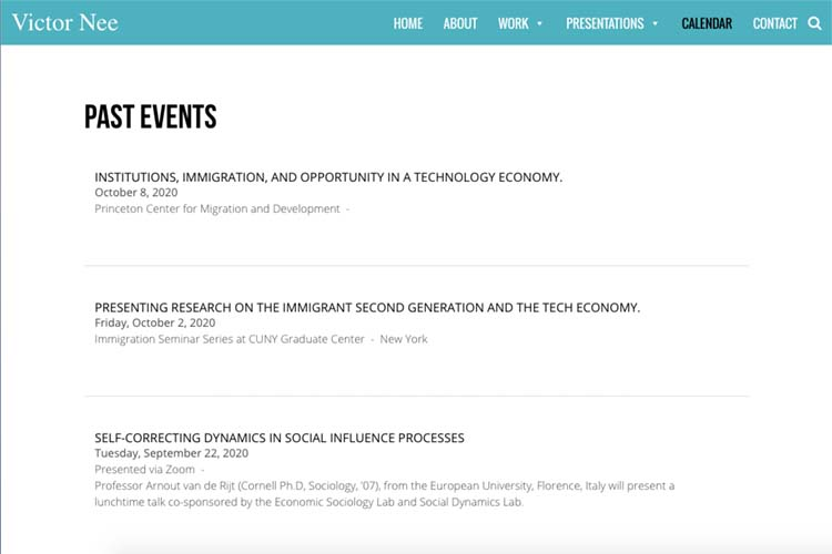 website design for events page for an author and speaker