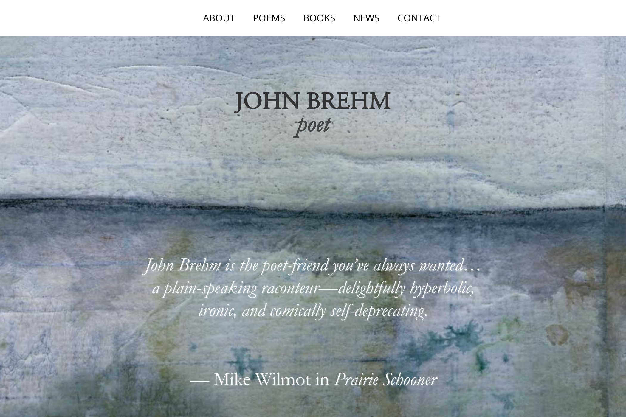 website design for a writer - home page for a poet