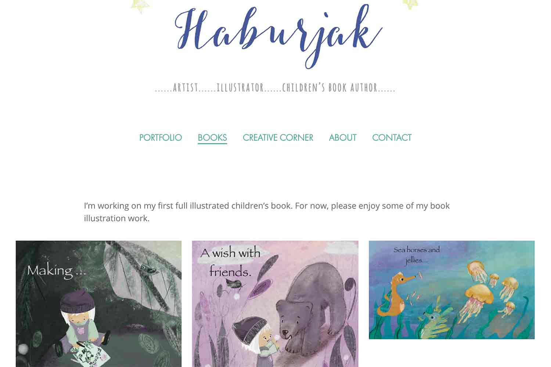 website design for artist illustrator author - book illustrations page
