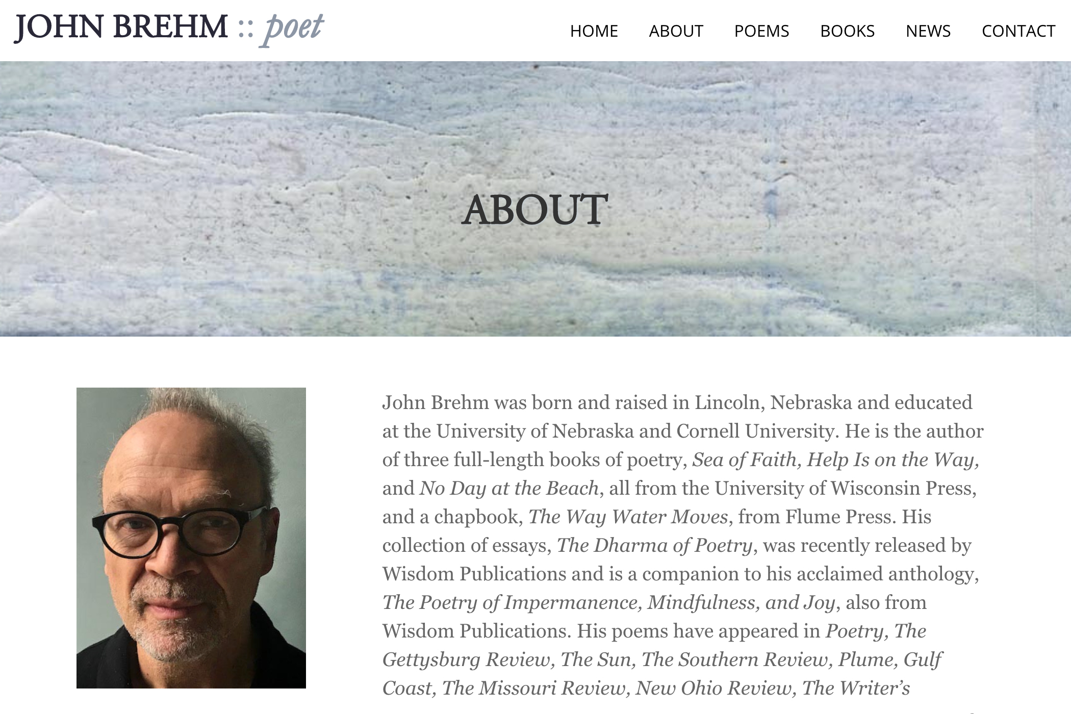 website design for a writer - about page for a poet
