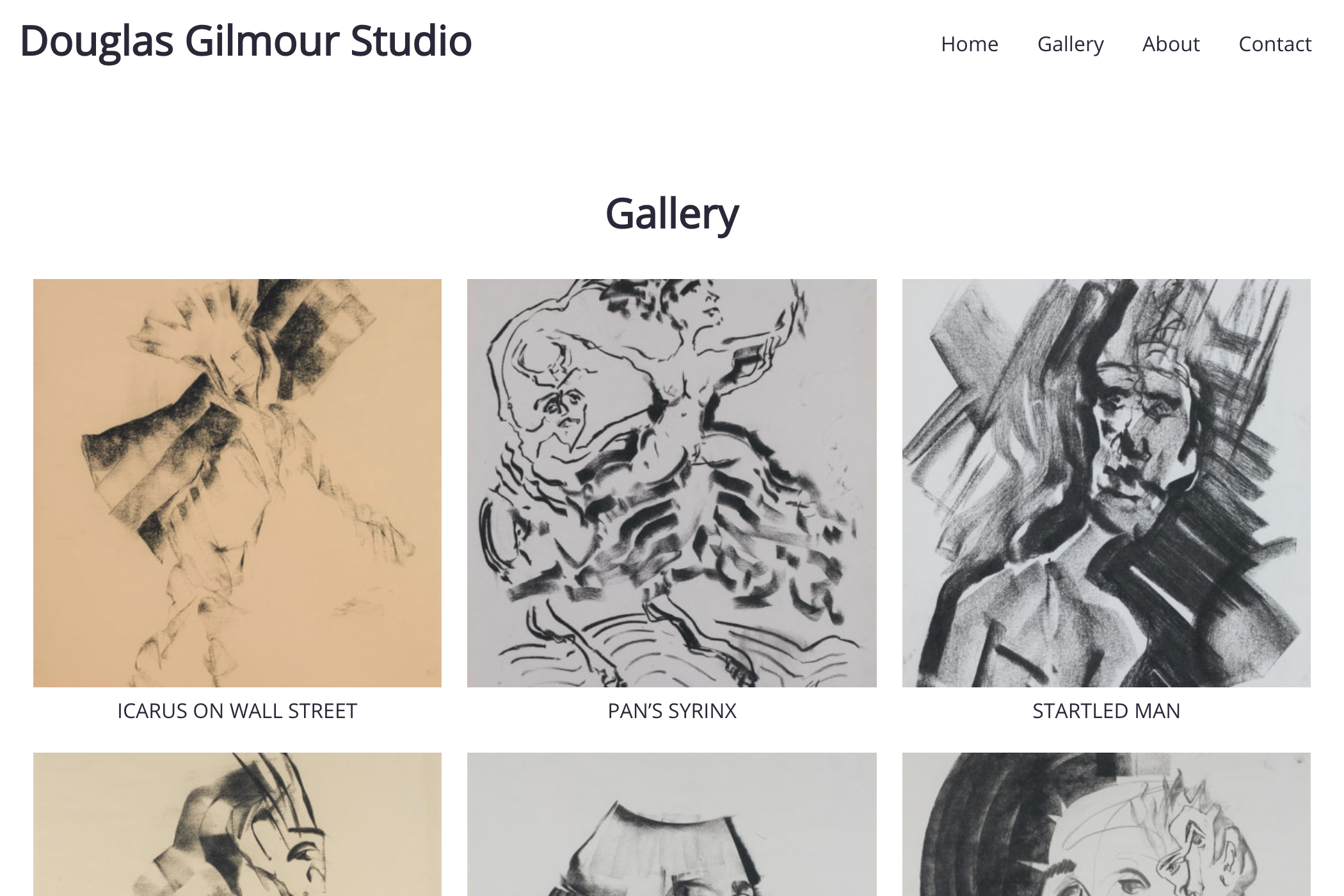 website design for an artist - gallery page