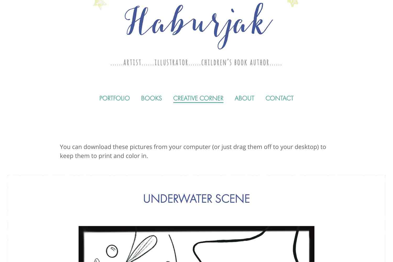 website design for artist illustrator author - creative corner page