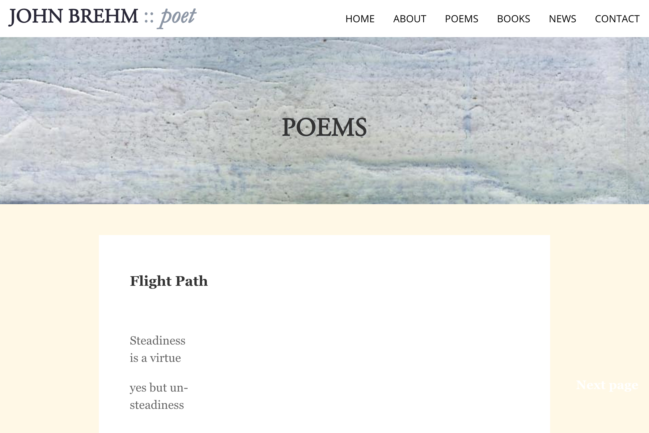 website design for a writer - poems page