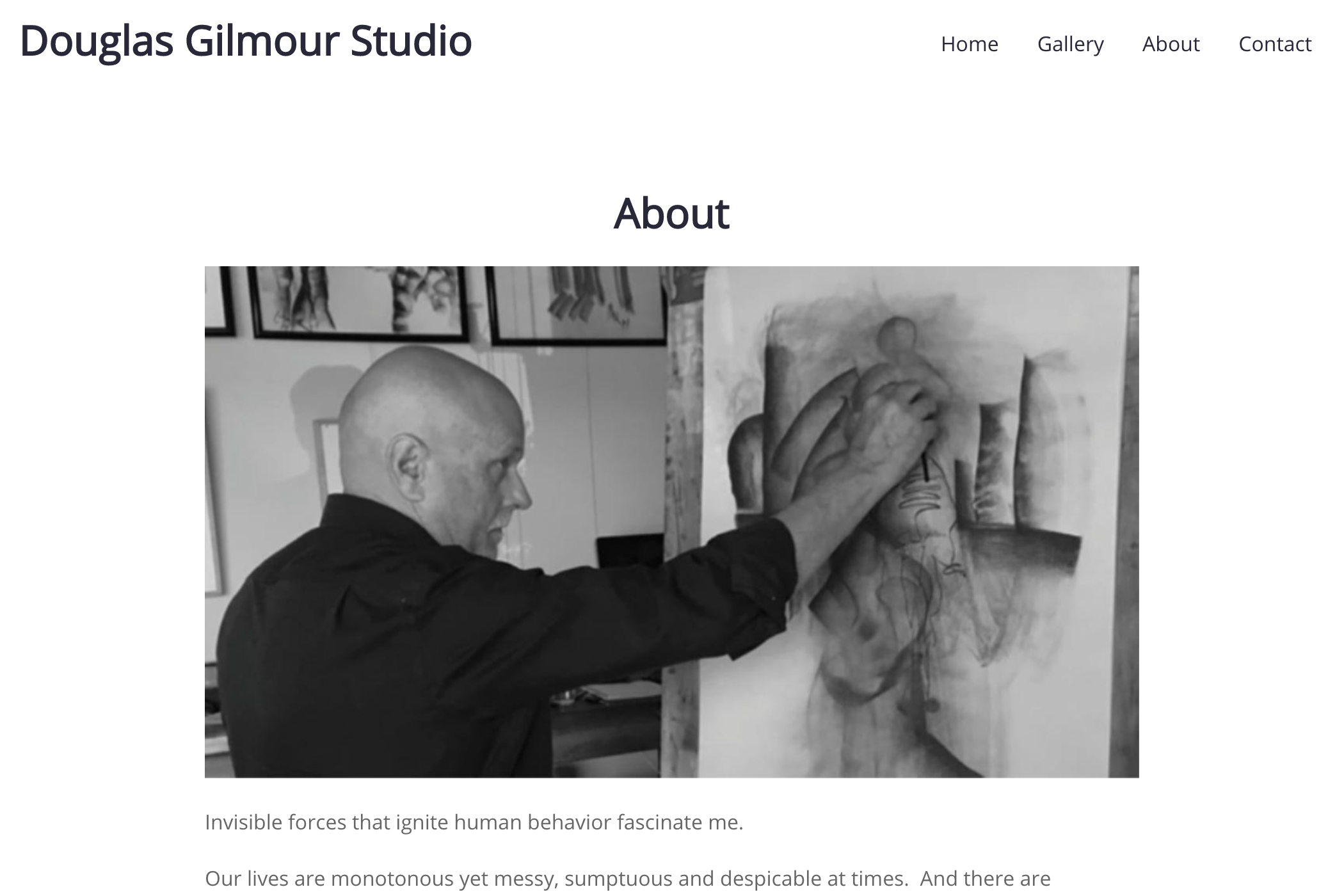 website design for an artist - about page