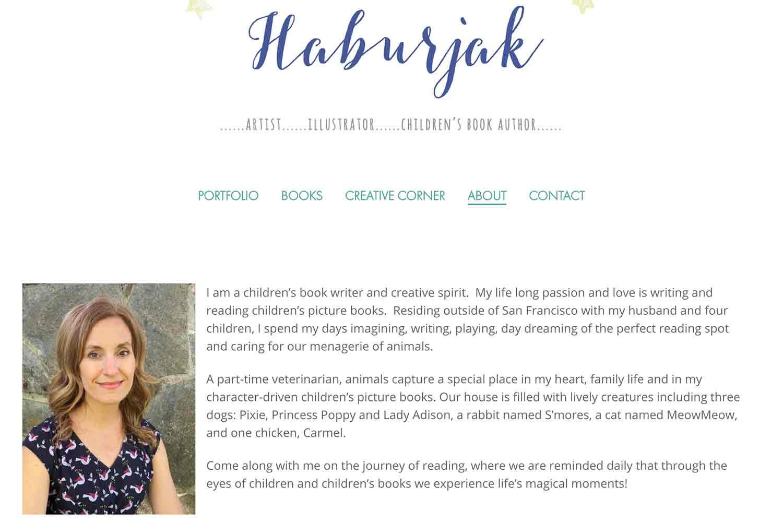 website design for artist illustrator author - biography page