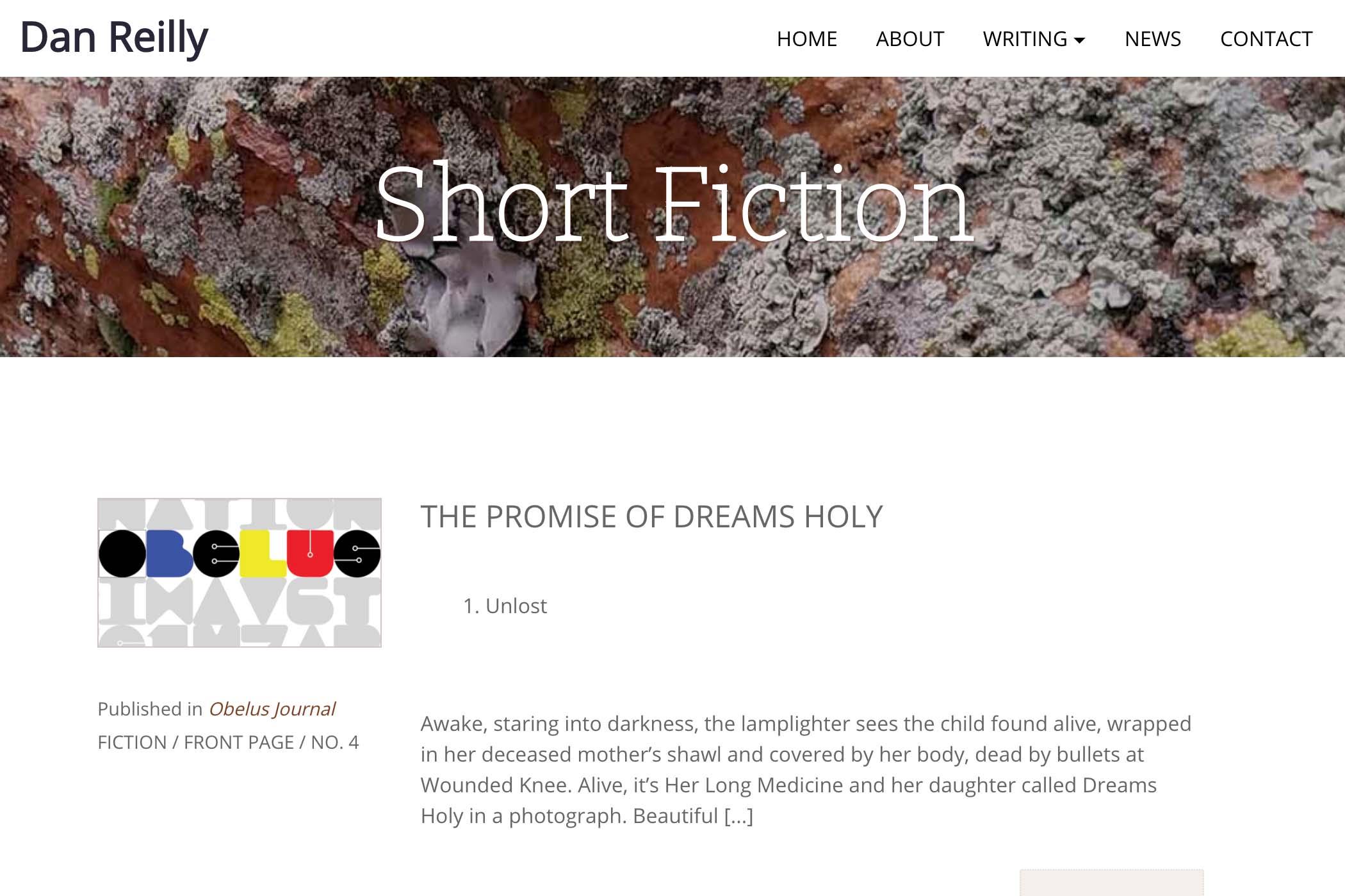 website design for a writer - short fiction page