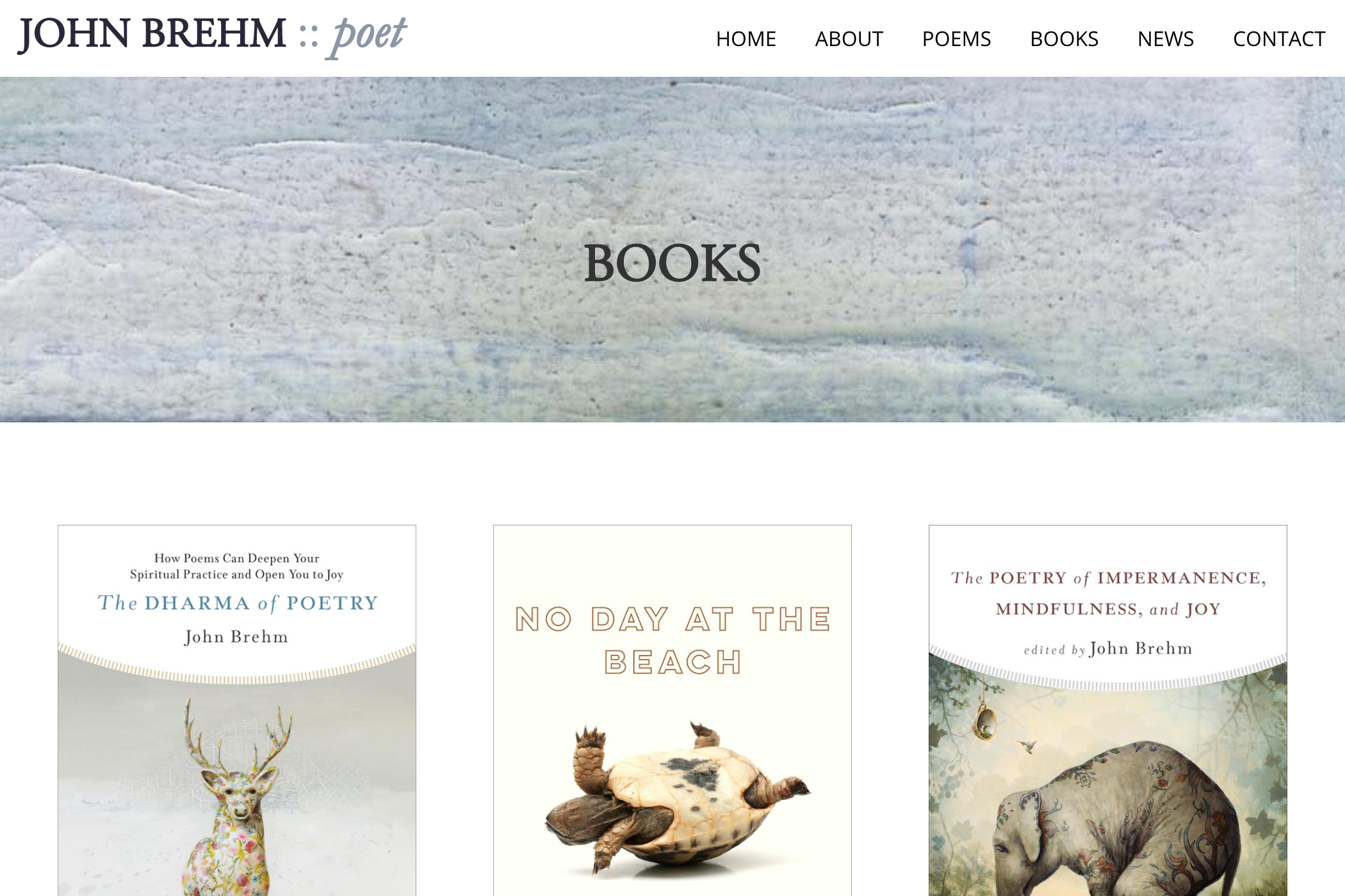 website design for a writer - books page for a poet