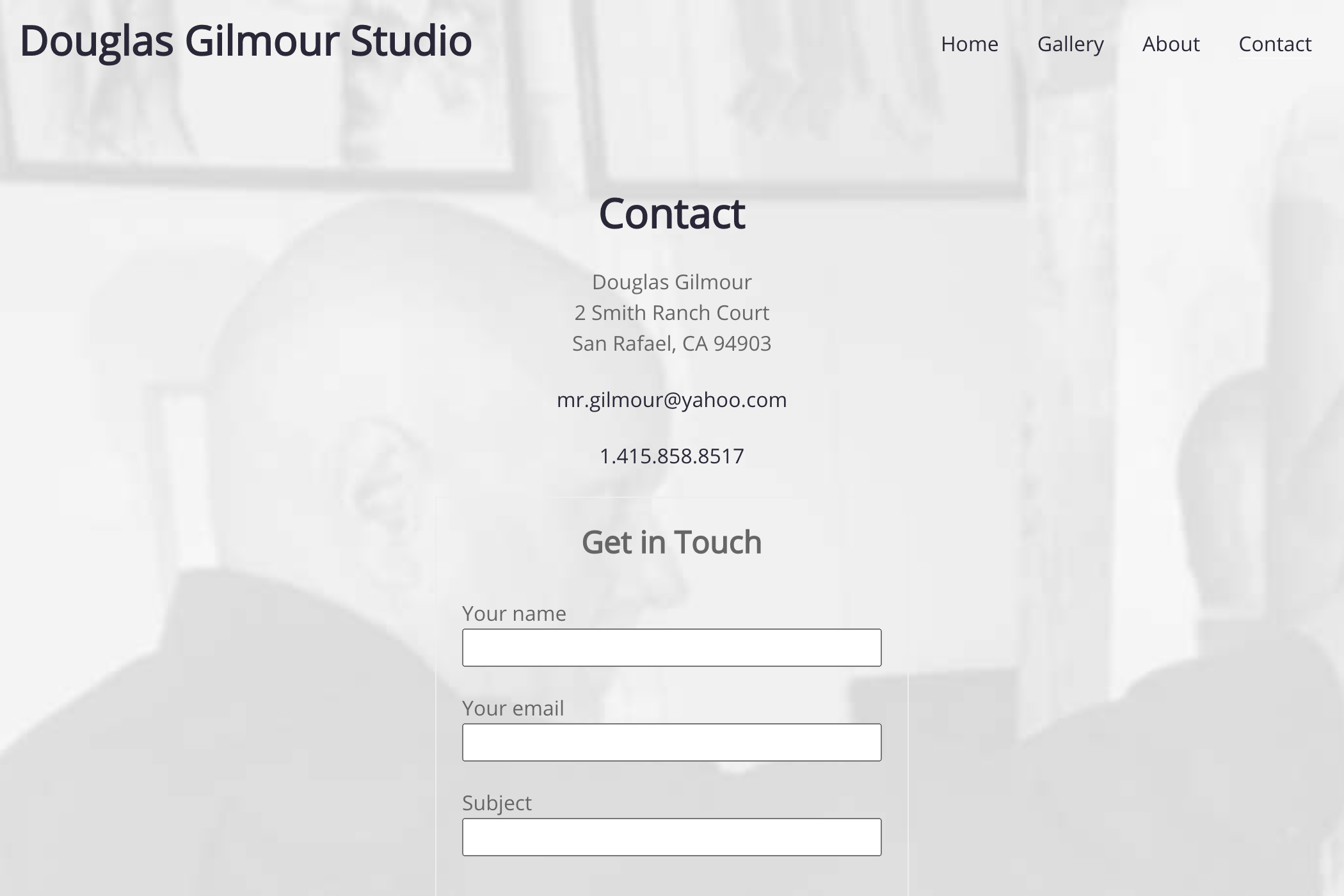 website design for an artist - contact page with cover background image