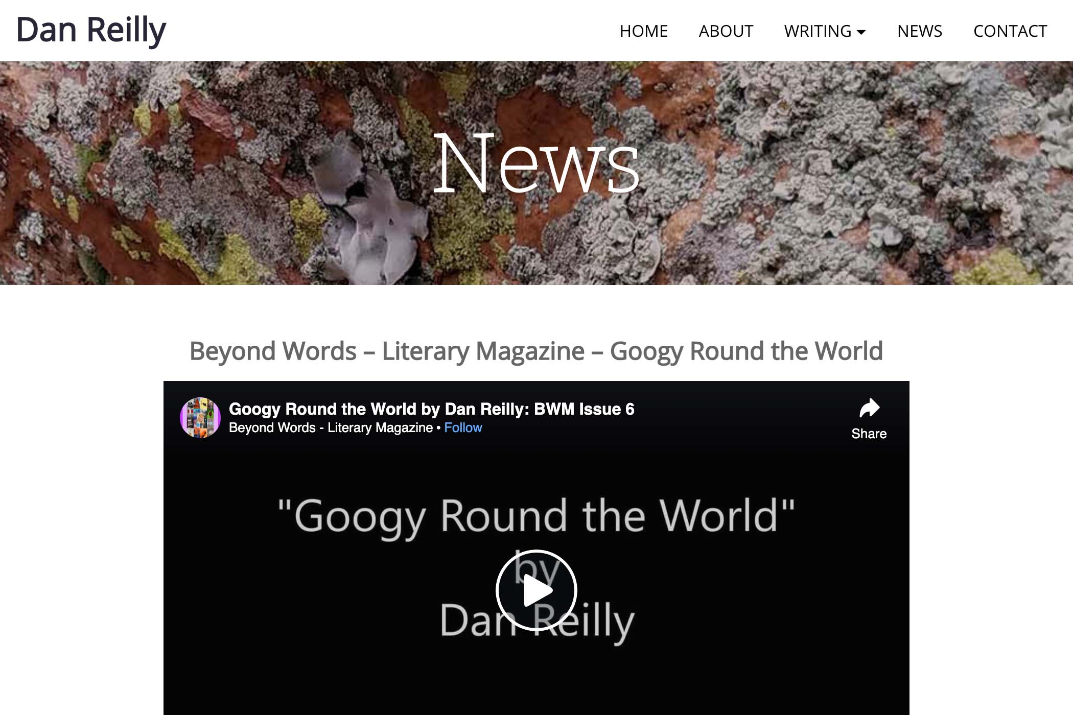 website design for a writer - news page