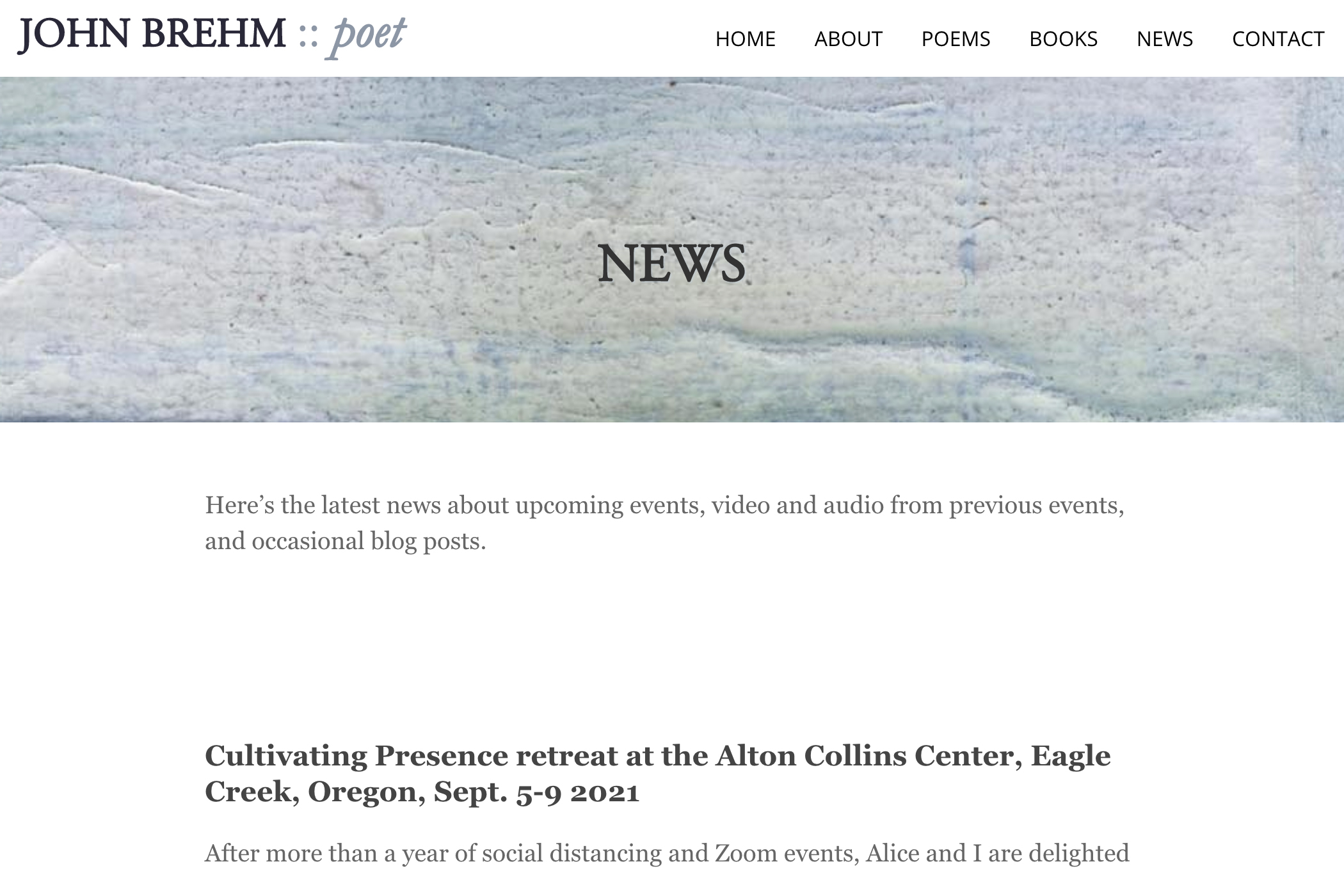website design for a writer - news page for a poet
