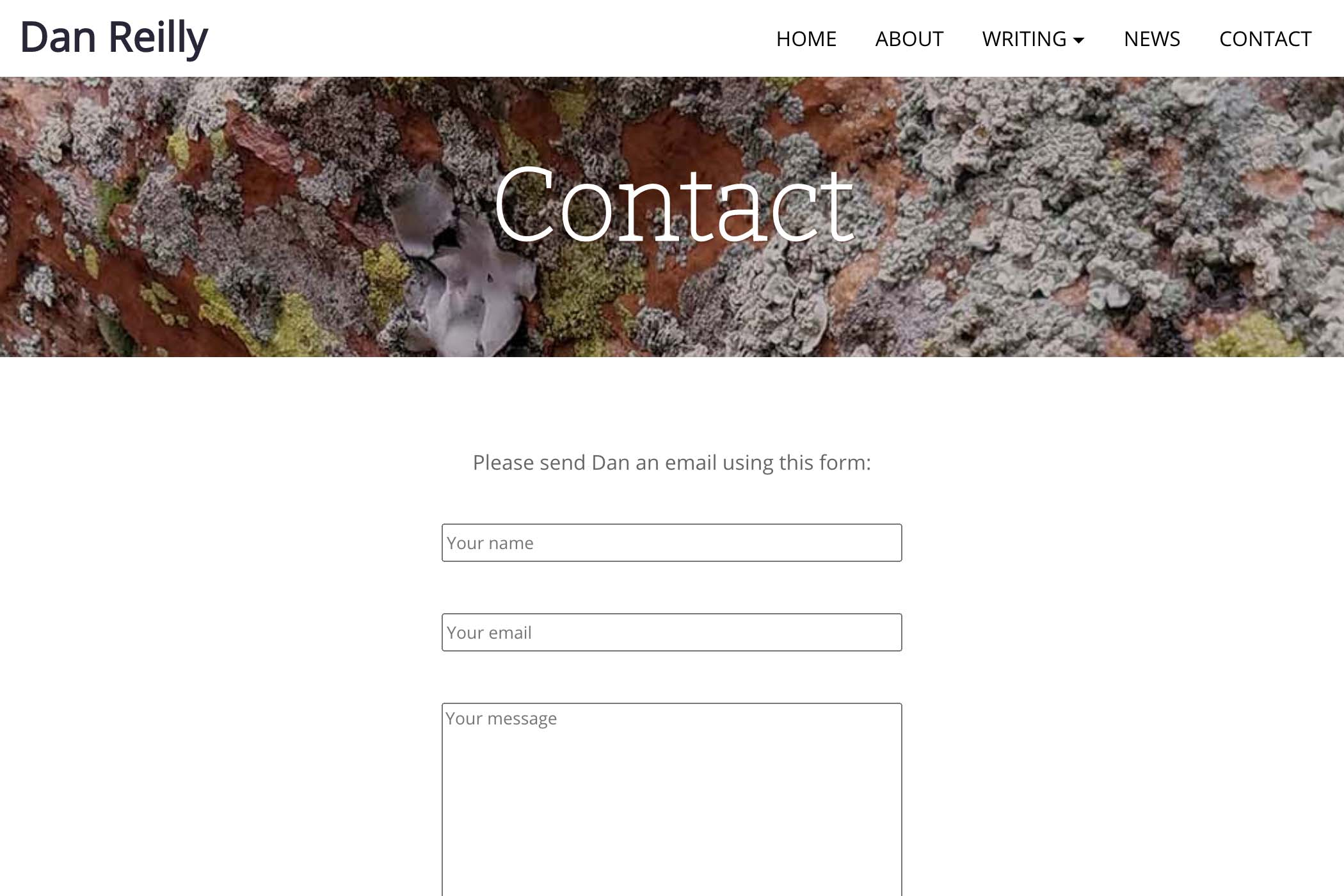 website design for a writer - contact page
