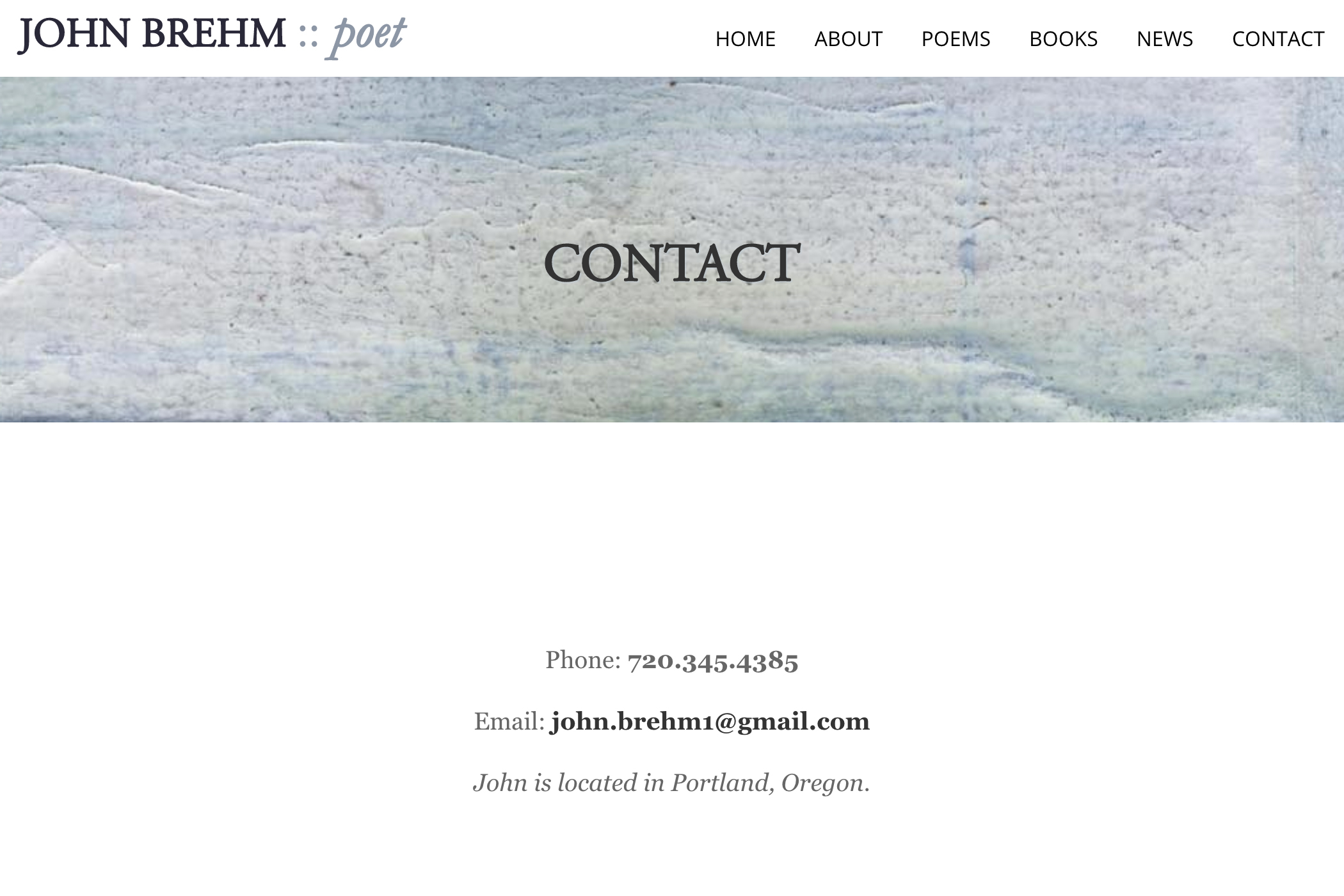 website design for a writer - contact page for a poet